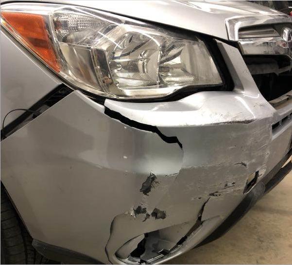 Front end damage repair, car crash repair,